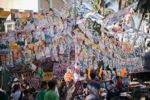 <span>Election paraphernalia litter the Aurora A. Quezon Elementary School during election day on May 9, 2016.</span>