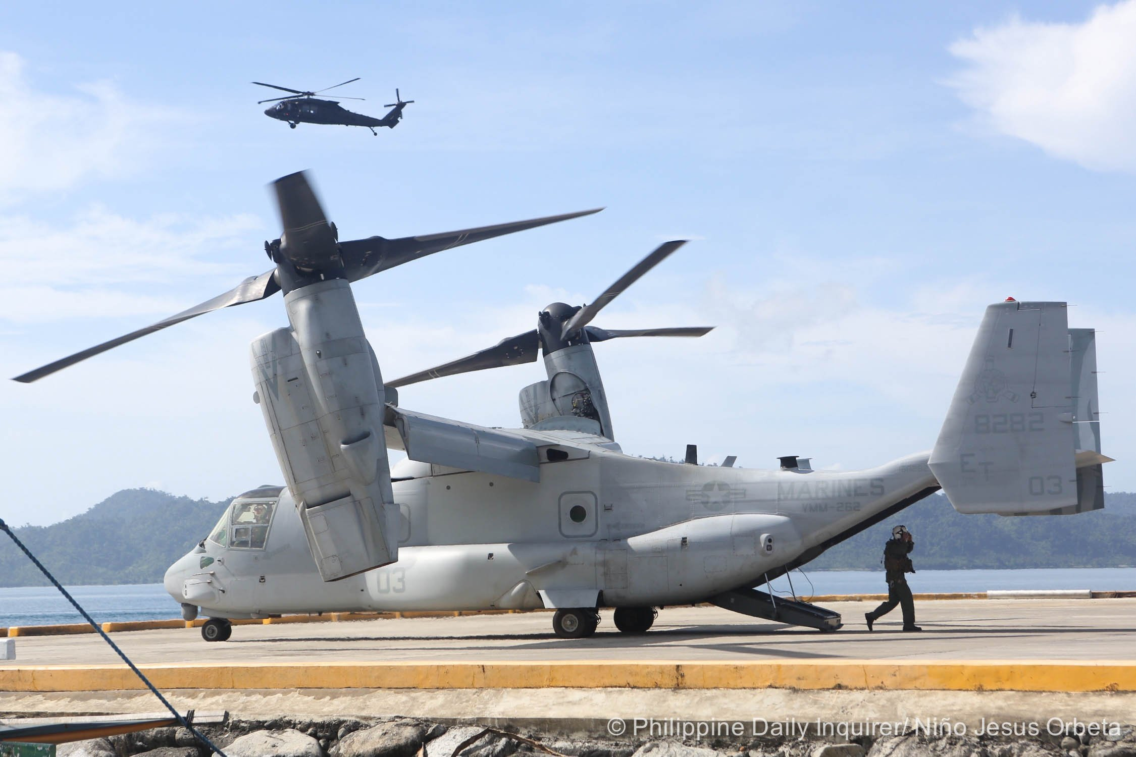 <span>A V-22 Osprey helicopter carrying American troops land on a port in Casiguran, Aurora province, prior to a simulated typhoon relief operations with their Filipino counterparts under the annual Balikatan exercises, dubbed Civil MIlitary Activities from  the Sea, May 15, 2017.</span>